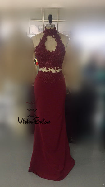 ff4df7d8 Burgundy Two Piece Halter Mermaid Long Prom Dresses With Appliques, Sexy Prom  Dresses, VB01120