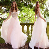 Unique Baby Pink Spaghetti Straps Off The Shoulder Open Back Beading Long Tulle Prom Dress, Prom Dress, VB0540 - Visionbridal