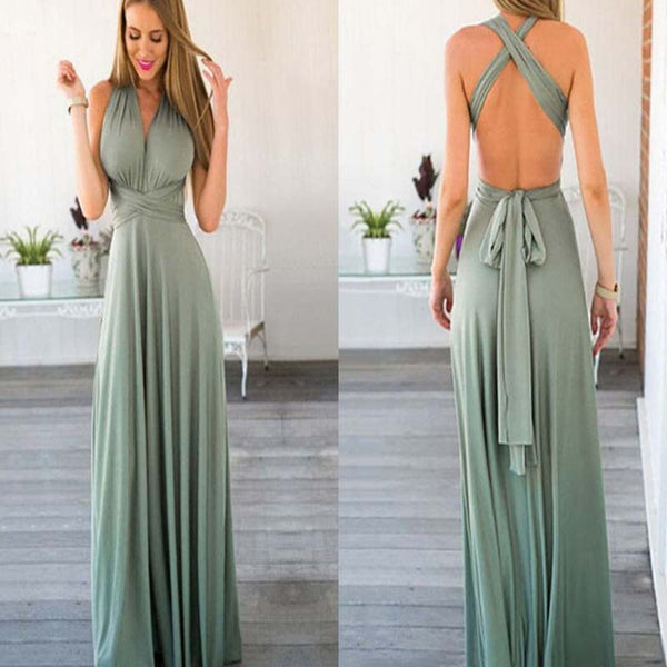 Halter Cross Back With Belt A-Line Floor Length Prom Dress, Charming And Comfortable Prom Dress, Prom Dresses, VB0352 - Visionbridal