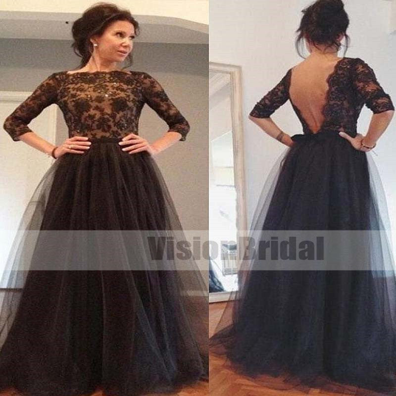 Black Lace Top With Beaded  Mother Of The Bride Dresses With V Cut Back, Bridesmaid Dresses, VB0440