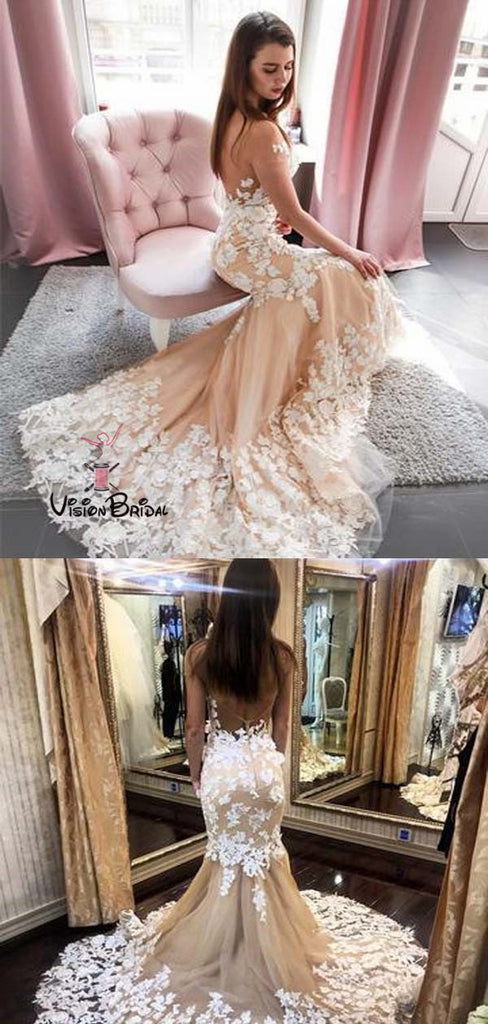 Elegant Off The Shoulder Long Mermaid Wedding Dresses With Lace Appliques, Wedding Dresses, VB01627
