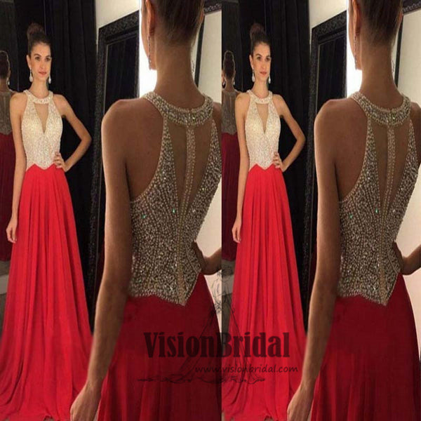 Stunning Top Beading Halter Sleeveless A-Line Long Chiffon Prom Dress, Elegant Prom Dress, VB0481 - Visionbridal