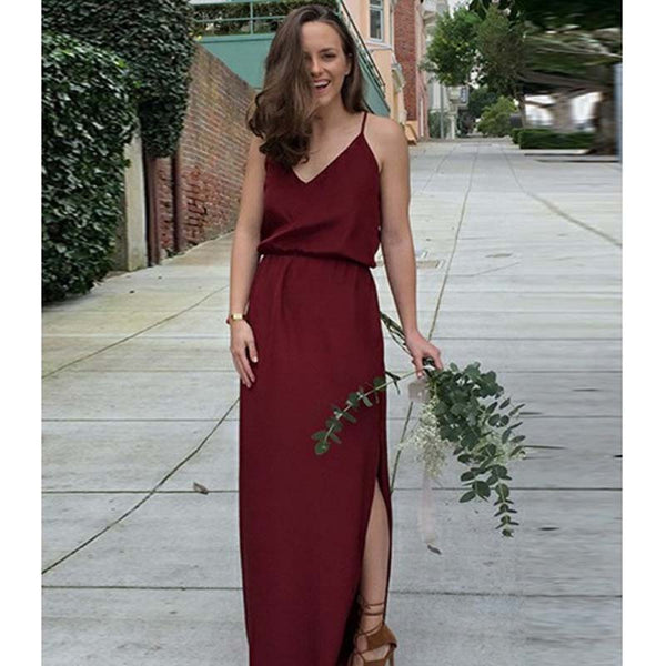 Unique Burgundy Spaghetti Straps Long Side Slit Bridesmaid Dresses, 2019 Newest Bridesmaid Dresses, VB02131