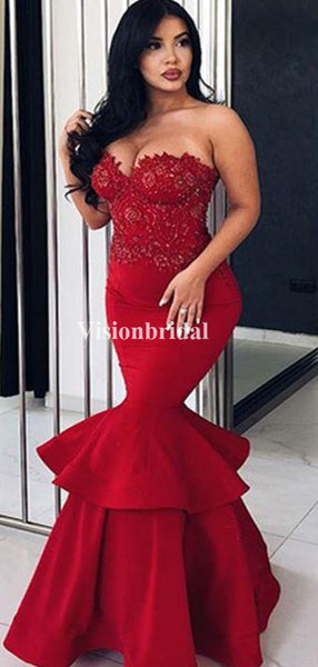 Burgundy Sweetheart Beading Mermaid Prom Dresses, Evening Prom Dresses, VB03405