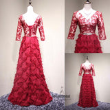 Red V-Neck Three-quarter Sleeves Embroidery Lace Up A-Line Long Prom Dress With Band, Beautiful Prom Dress, VB0464 - Visionbridal
