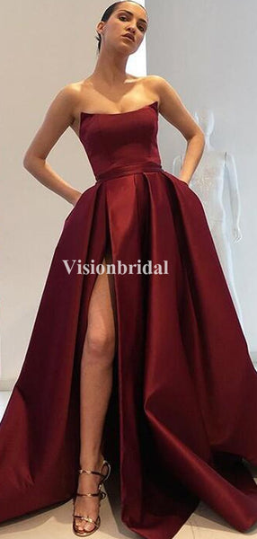 Gorgeous Burgundy Strapless A-Line Satin Prom Dresses With Pockets, VB03449