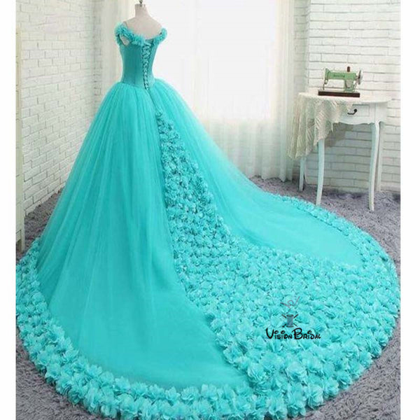 Gorgeous Turquoise Off Shoulder Ball Gown With Appliques Prom Dresses, Prom Dresses With Trailing, Prom Dresses, VB01795