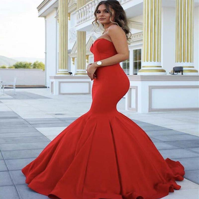 Simple Red Sweetheart Long Mermaid Prom Dresses, Sexy Prom Dresses, VB01329