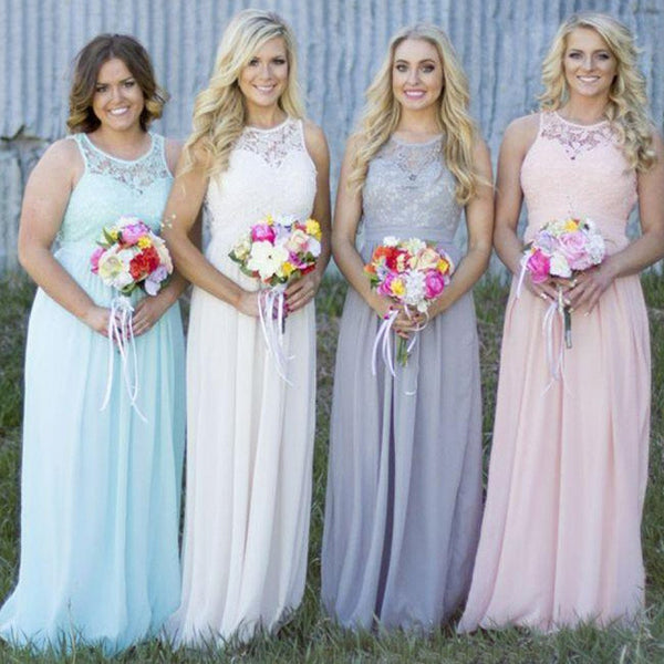 Off Shoulder Small Round Neck Top Lace Different Colors Chiffon Floor-Length Cheap Maxi Bridesmaid Dresses, VB0158 - Visionbridal