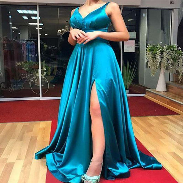 Alluring Royal Blue V-Neck Long A-Line Prom Dresses With Side Slit,Prom Dresses, VB01338