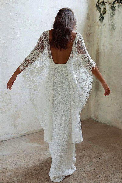 Boho Style Column Side Slit Long Lace Wedding Dresses, Beach Wedding Dresses, VB02200