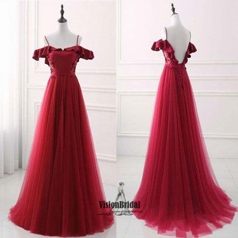Red Spaghetti Straps Off The Shoulder With Ruffles Lace Up A-Line Long Tulle Prom Dress, Beautiful Prom Dress, VB0465 - Visionbridal