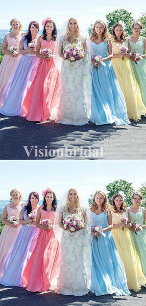 Different Color Lace Top Cap Sleeve A-Line Chiffon Bridesmaid Dresses, VB03705