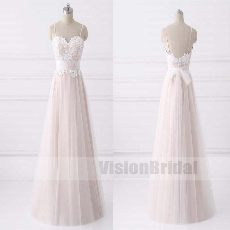 Lovely Spaghetti Straps Sweetheart A-line Cheap Wedding Dresses Online, Blush Pink Wedding Dress With Lace, VB0783