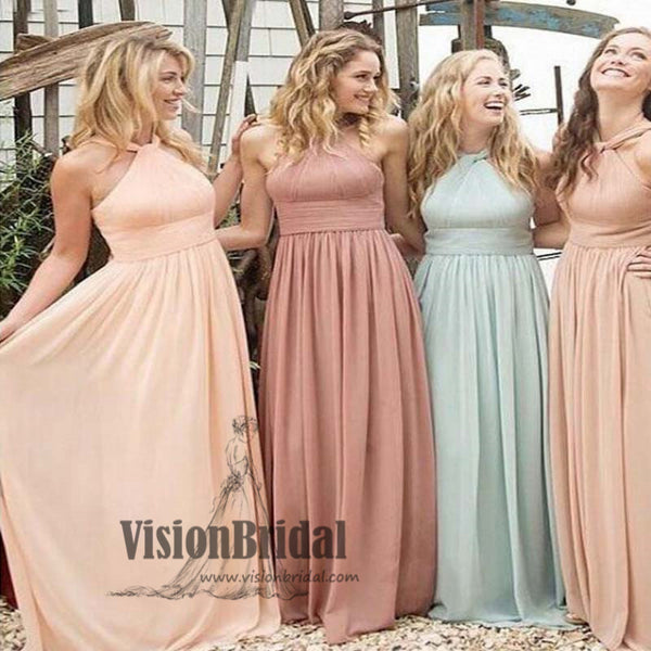 Junior Halter Pleating A-line Long Bridesmaid Dress, Hot Sale Bridesmaid Dress, Bridesmaid Dress, VB0517 - Visionbridal