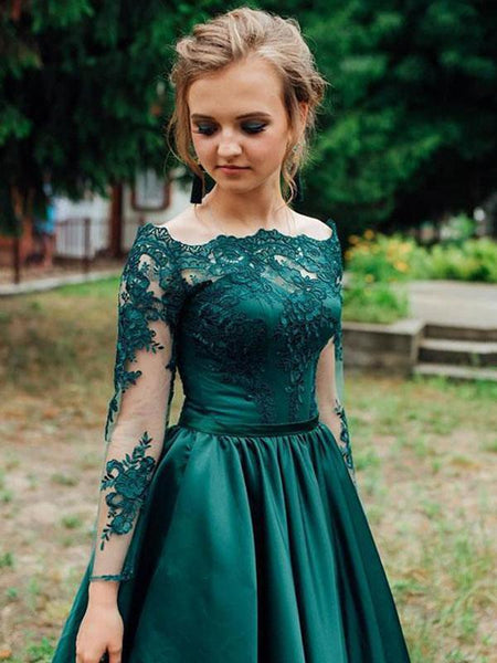 Alluring Green Long Sleeve With Lace Prom Dresses, PD0856