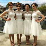 Beautiful Cap Sleeve White Tulle Short Sleeve Knee-Length Wedding Party Dresses, Short A-Line Bridesmaid Dresses, VB01025