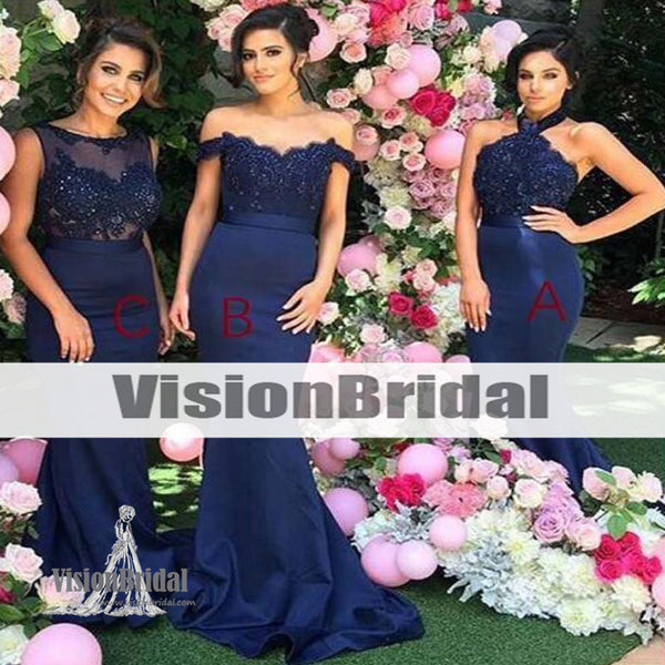 Mismatched Navy Lace Mermaid bridesmaid dresses, Cheap Long Custom bridesmaid dresses, Bridesmaid Dresses, VB0941