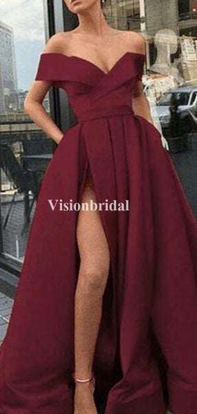 Alluring Off Shoulder Burgundy Side Slit Prom Dresses With Pockets, VB03450