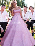 Alluring Spaghetti Straps Pink A-Line Prom Dresses, VB03431