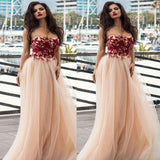 Alluring Strapless With Appliques Long A-Line Tulle Prom Dresses, Prom Dresses, VB01933