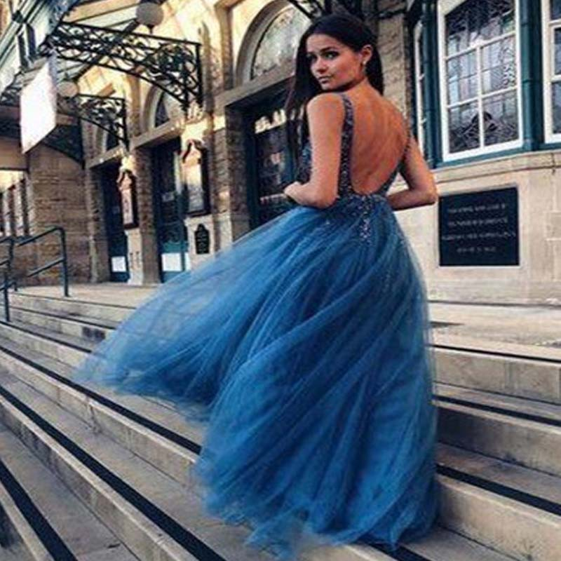 Sparkly V-Neck Backless A-Line Tulle Prom Dresses With Rhinestones, Beading Prom Dresses, VB01376
