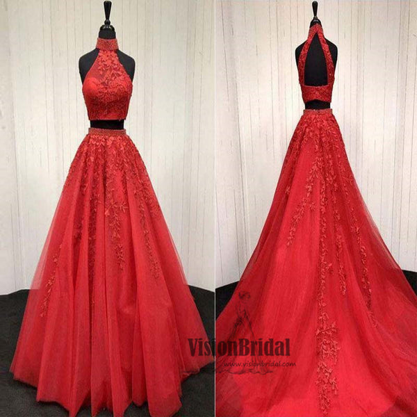 Charming Dark Red Halter Sleeveless Embroidery A-Line Long Prom Dress, Two Pieces Prom Dress, VB0482 - Visionbridal