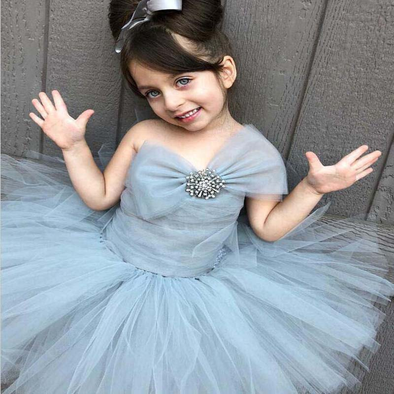 Ball Gown Strapless Sage Tulle Flower Girl Dress With Bow-Knot, Lovely Flower Girl Dresses With Beaded, VB01067