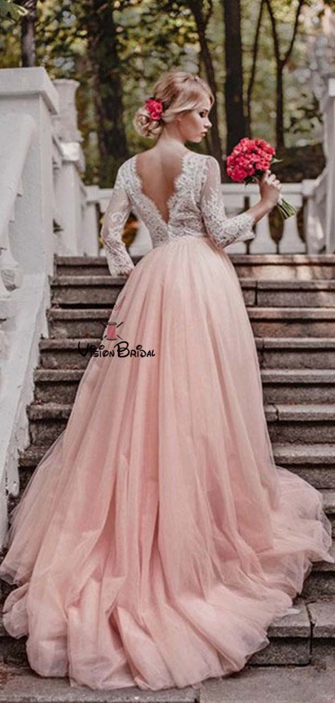 Simple V-Neck Long Sleeves Lace Top A-Line Blush Pink Tulle Wedding Dresses, Wedding Dresses, VB01367