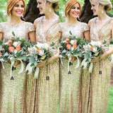Shiny Mismatched Gold Mermaid Bridesmaid Dresses, Wedding Party Dresses, VB03830