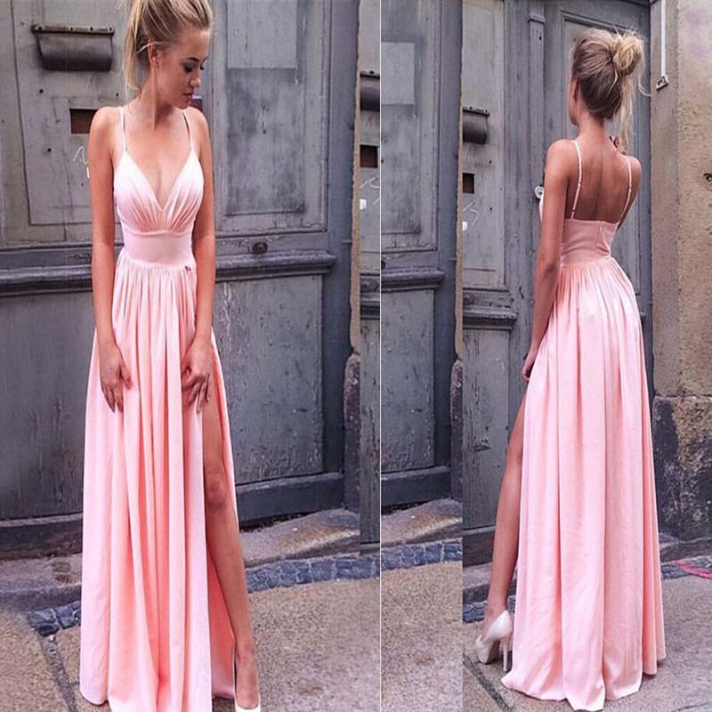 Pink Spaghetti Straps Zipper Up Sexy Side Slit Long Prom Dress, Charming Prom Dress, Prom Dresses, VB0296 - Visionbridal