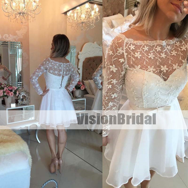 Beautiful Top Lace With Appliques Long Sleeves Covered Buttons A-Line Short Homecoming Dresses, Elegant Homecoming Dresses With Sash, VB0909