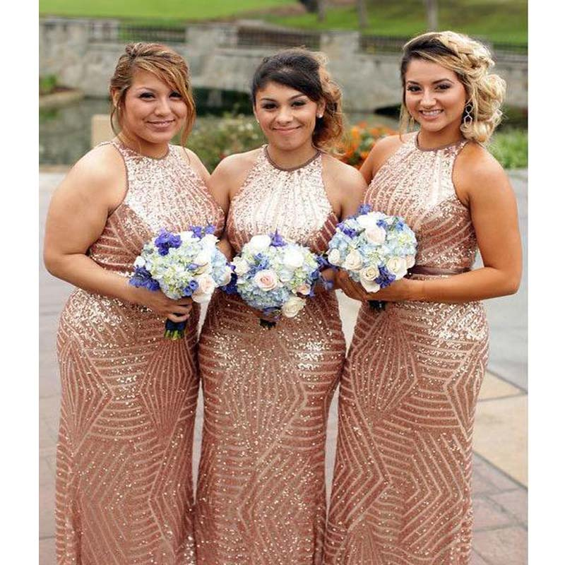 Gold Sequin Mermaid Halter Cheap Long Bridesmaid Dresses Online, Shinny Sheath Bridesmaid Dresses, VB0980