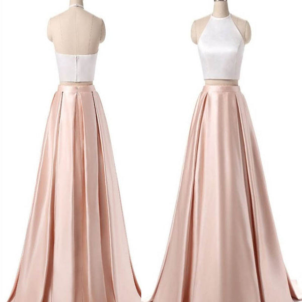 Halter Two Pieces Prom Dress, Prom Dress With Zipper Up, Sleeveless Prom Dress, VB061 - Visionbridal