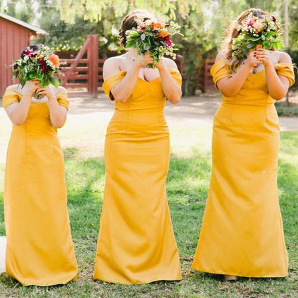 Alluring Orange Off Shoulder Long Mermaid Bridesmaid Dresses, Bridesmaid Dresses, VB02186