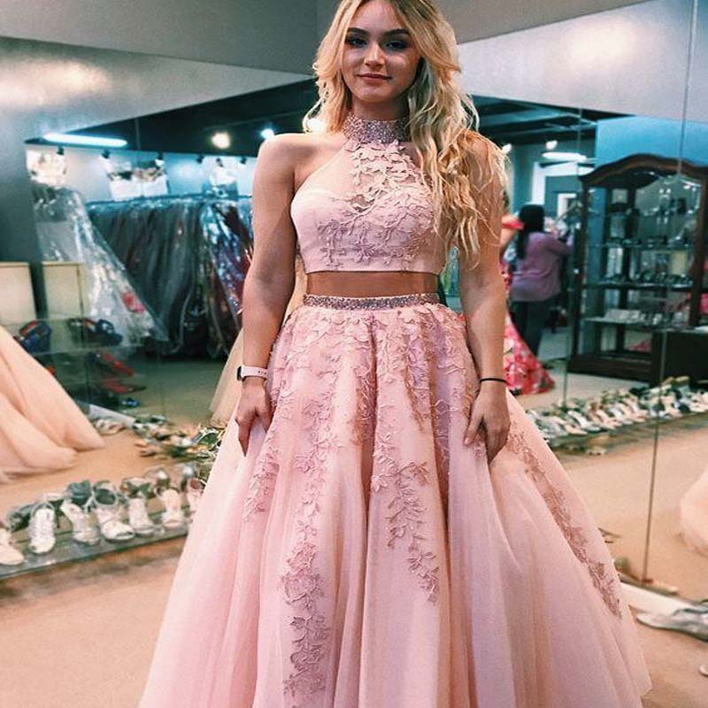 Charming Pink Two Pieces High Neck A-Line Tulle Prom Dresses With Appliques, Beaded Prom Dresses, VB01415