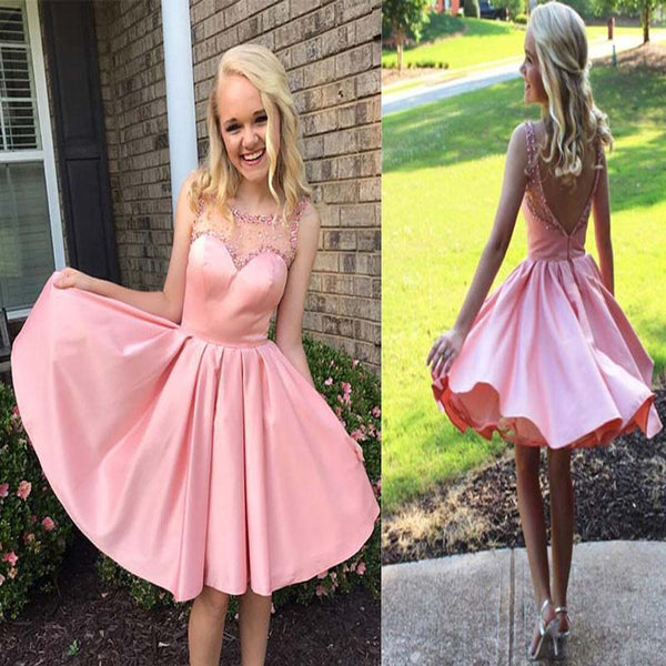 daa33594f6e Fashion Pink Illusion Open Back Sleeveless Short A-Line Homecoming Dresses  With Sequins