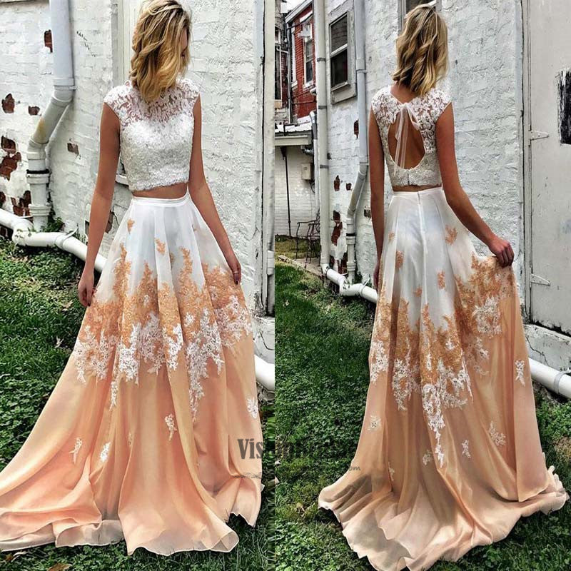 Chic Illusion Lace Top Cap Sleeves With Beaded Open Back A-Line Floor Length Prom Dress, Two Pieces Lace Embroidery Prom Dress, Prom Dress, VB0530 - Visionbridal