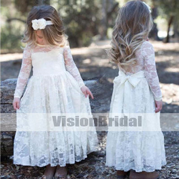 Simple Scoop Neckline Long Sleeve Lace Flower Girl Dresses, Flower Girl Dresses With Bow-Knot, VB0884