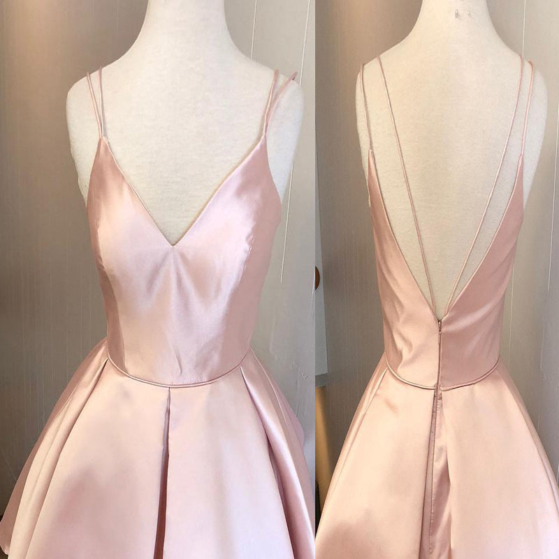 Simple Pink Spaghetti Straps V-Neck V-Back A-Line Short Homecoming Dresses, Cheap Homecoming Dresses Under $100, Hot Sale Homecoming Dresses, VB01172