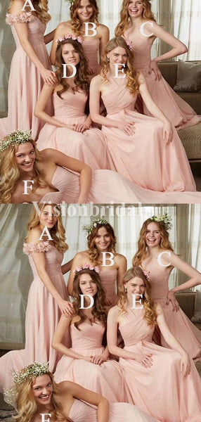 Pink Mismatched Top Pleated Long A-Line Chiffon Bridesmaid Dresses, VB03741