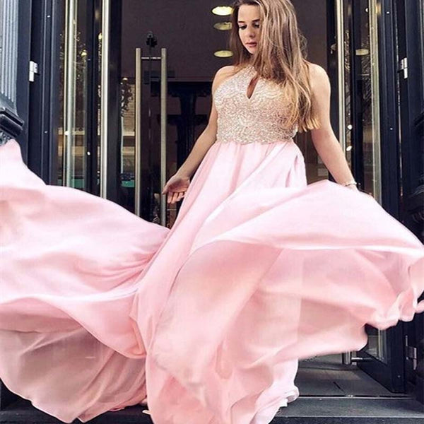 Charming Halter Top Beaded Pink Long A-Line Chiffon Prom Dresses, Prom Dresses, VB02110