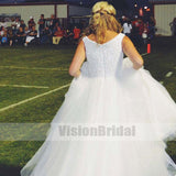 Charming V-Neck Top Pearls Zipper Up A-Line Long Wedding Dress, Wedding Dress, VB0784