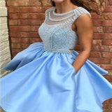 Open Back Blue Cap Sleeve Scoop Neckline Homecoming Dresses, Short Cheap Homecoming Dresses Online, Charming Homecoming Dresses With Beaded, VB01016