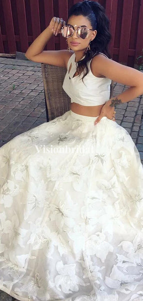 Elegant Ivory Two Pieces Flower Printed Tulle Prom Dresses, VB03468