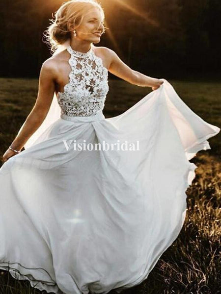 Simple Lace Top High Neck Long A-Line Wedding Dresses, Newest Wedding Dresses, VB02695