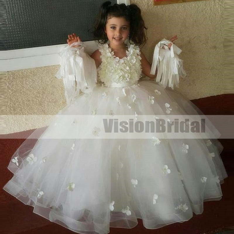 Charming Scoop Neckline Sleeveless Ball Gown Flower Girl Dresses With Flower Appliques, Beautiful Flower Girl Dresses, VB0885