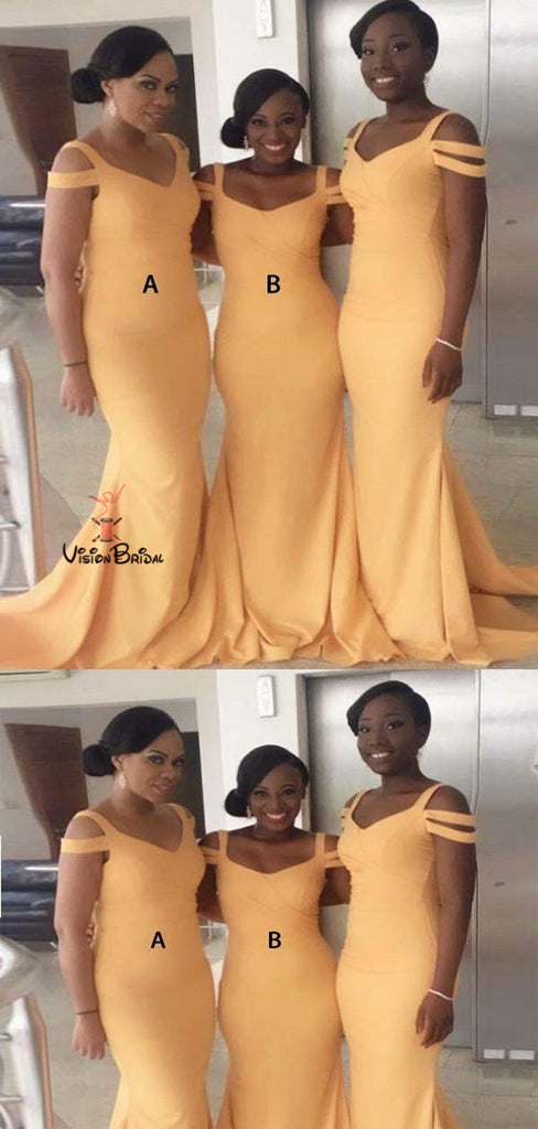 Mismatched Yellow Unique Straps Long Mermaid Bridesmaid Dresses, Bridesmaid Dresses, VB01471