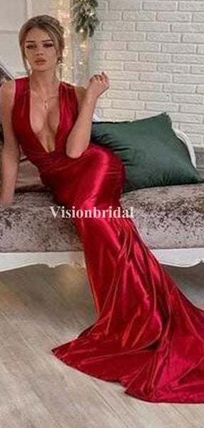 Eye-Catching Deep V-Neck Mermaid Long Prom Dresses, Evening Dresses, VB03377