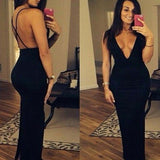 Sexy Simple Cross Back Mermaid Deep V Neck Black Floor Length Custom Long Evening Prom Dresses, Prom Dresses, VB056